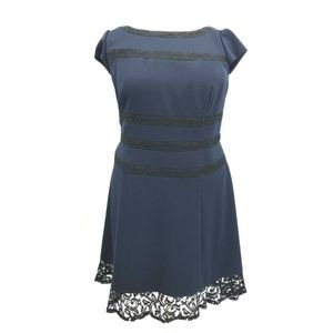 Adrianna Papell Lace Accent Cap Sleeve Dress Sz 22